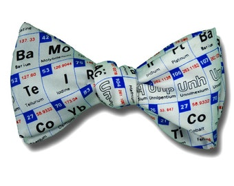 Mens SILK BOW TIE Periodic Table Chemist Scientist Engineer Chemistry March for Science Scientist BowTie
