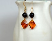 Topaz crystal drop earring with faceted black onyx gemstone bead Sophisticated dangle earrings Semi precious gem stone jewelry for women