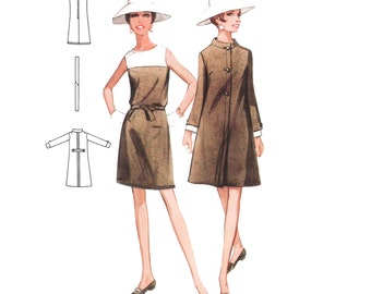 1968 Sleeveless Bateau Neck Contrast Yoke Detail Shift Dress & Slightly A-line Coat, Standing Collar, Contrast Cuff, Butterick 4741 Bust 34""