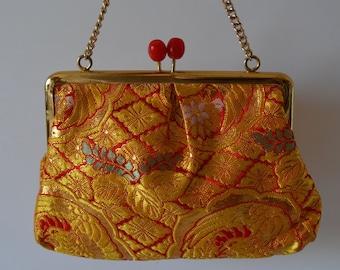 Young girl's handbag, orange and gold silk brocade, wedding purse, flower girl, 1980s vintage Japanese purse
