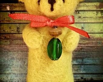 "yellow teddy bear 3,4"" needle felted"