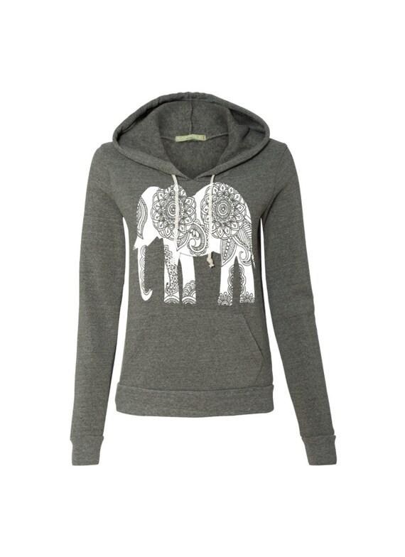 Womens Paisley ELEPHANT Christmas Gift Hoodie Sweatshirt