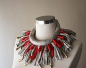 GORGONIAN -  Statement Jewelry Oversized Leather and Coral Necklace Big Couture Necklace One of a Kind