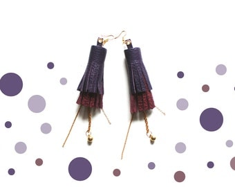 BERRY PARTY - Leather Tassel Earrings with Chains Long Earrings Statement Jewelry Purple and Maroon Chunky Tassels