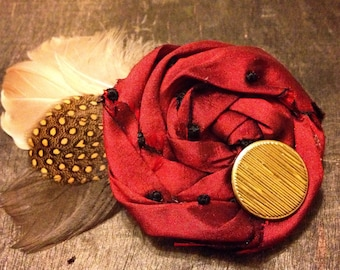 Autumn Rosette, Feather Hair Accessory or Brooch