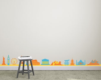 World Landmarks Border (12 landmarks) - Wall Decal Custom Vinyl Art Stickers