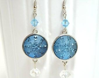 Winter Frozen Earrings with Crystal Beads