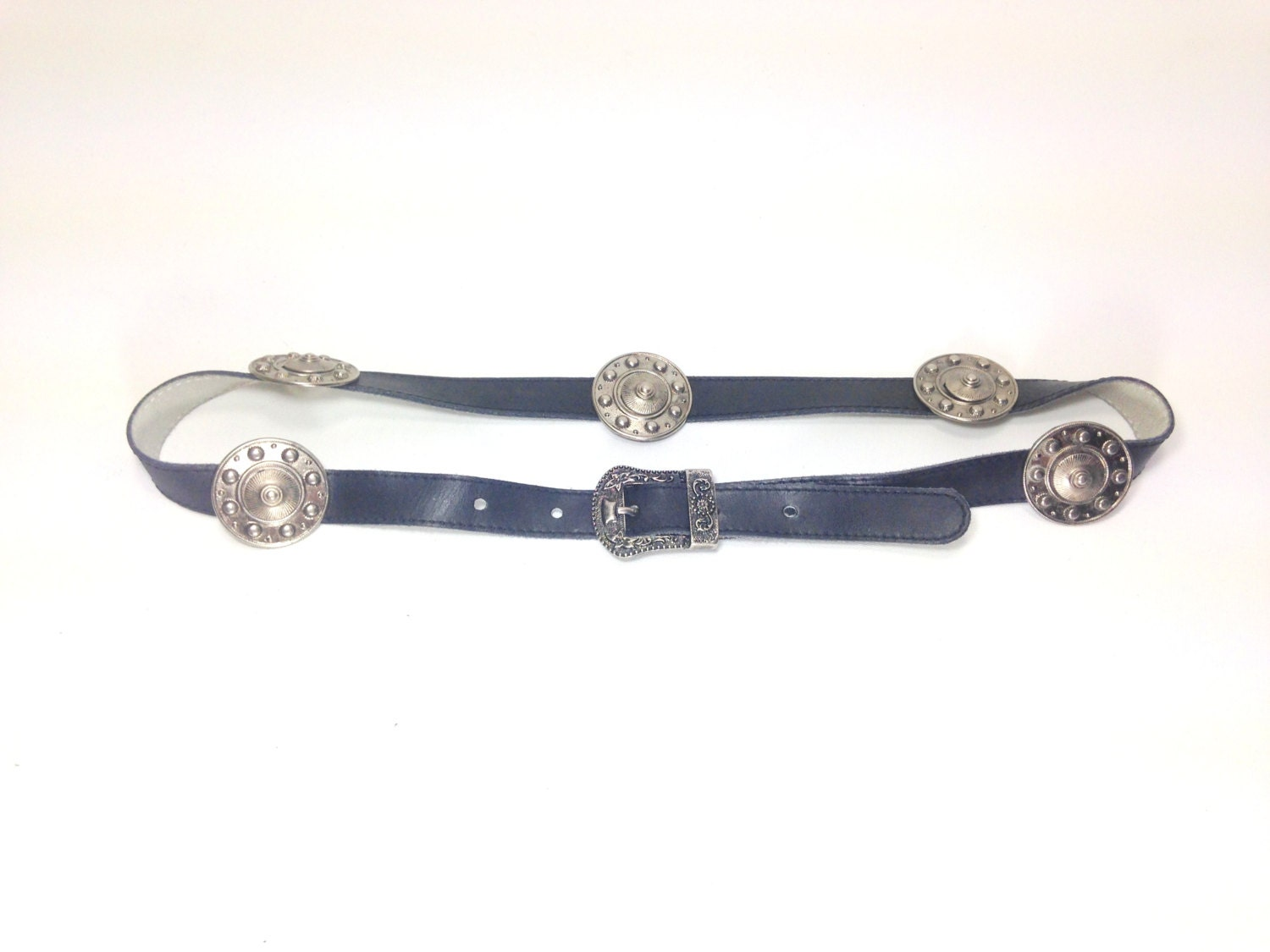 leather concho waist belt small leather belt with silver