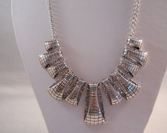Silver Tone Pendant Bib Necklace