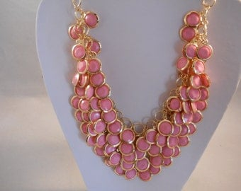 4 Strand Gold and Pink Bib Necklace on a Gold Tone Chain