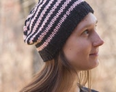 Knit Hat, Women's Knitted Cap, Beanie Hat, Skinny Stripe Hat, Pink and Black Stripes, Women's Fashion Accessory, Hand Knitted Cap