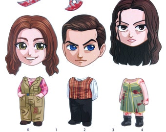 Mix and Match Magnets: Kaylee Frye, Simon Tam, River Tam (Firefly Set 3)