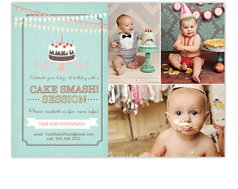 SALE Cake Smash Marketing Template for Photographers Photography Marketing Photoshop Templates for Photographers - AD126