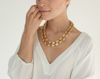 Vintage Double Strand Necklace Fluted Gold Bead