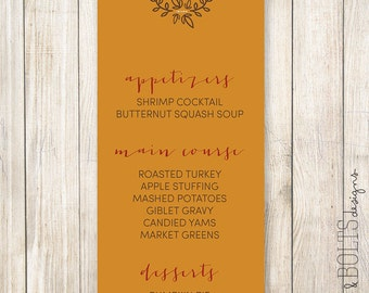 "Thanksgiving Menu: ""Gather"" theme // Printable or Printed"