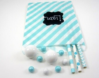 24- 5X7 Aqua and White Diagonal Stripe  Bags, Treat Bags, Favors, Candy Buffet, Wedding, Baby Shower, Birthday,