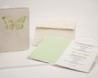 Spring set, 3 cards - handmade paper cards laser cut motif with paper insert and enevelope