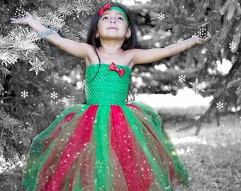 Red and Green Christmas Glitter Tutu Dress
