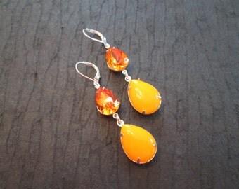Tangerine Large Swarovski Crystal Earrings/Orange Earrings/Bridesmaid Jewelry/Crystal Earrings/ Bridesmaid Gift/Swarovski Crystal Earrings