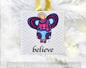 Christmas Ornament: BELIEVE Design Handmade - Holiday Gift Christmas Present Christmas Tree Decoration Girl Angels Watercolor