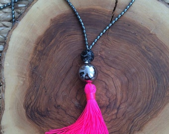 Long Beaded Necklace - Hematite beads and neon pink  necklace - Hot pink Tassel Necklace