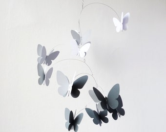 3D Butterfly Mobile, Kinetic Mobile, Monochromatic , Home decor, Butterfly Hanging