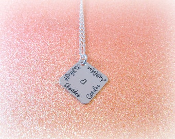 Hand Stamped Personalized Four Name Necklace - Personalized Necklace for Mom Grandma Aunt Sister Godmother - Square Stamped Heart Necklace