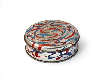 Vintage tin box, round tin box, blue tin box, blue tin canister