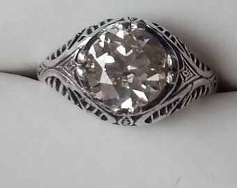 Engagement Ring -  Romantic Antique Style Old European Cut Engagement Ring - Antique Reproduction Engagement Ring