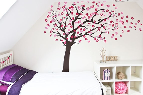 decal Cherry Blossom tree Blowing Wall Sticker Life Size