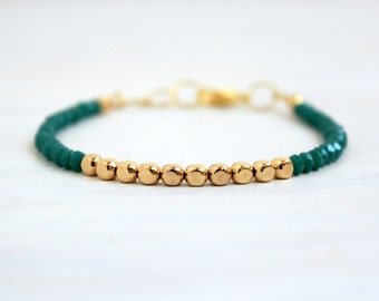 Dainty Gold Beaded Stack Bracelet Minimalist Jewelry Gift for Her Delicate Emerald Green Gold Thin Bracelet