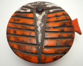 Mid century pottery, stoneware, lidded bowl, Christ on the Cross, Fish, 1960's