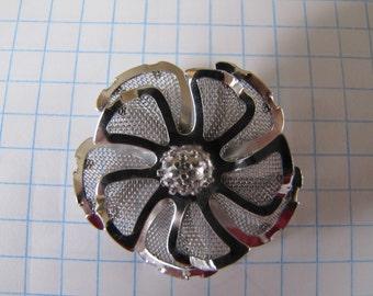 Vintage Mesh PinWheel Silver Flower Brooch Pin Pendant Jewellery Jewelry