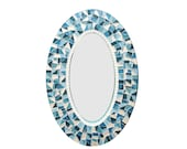 Oval Mosaic Wall Mirror in Teal, Turquoise, Aqua and White