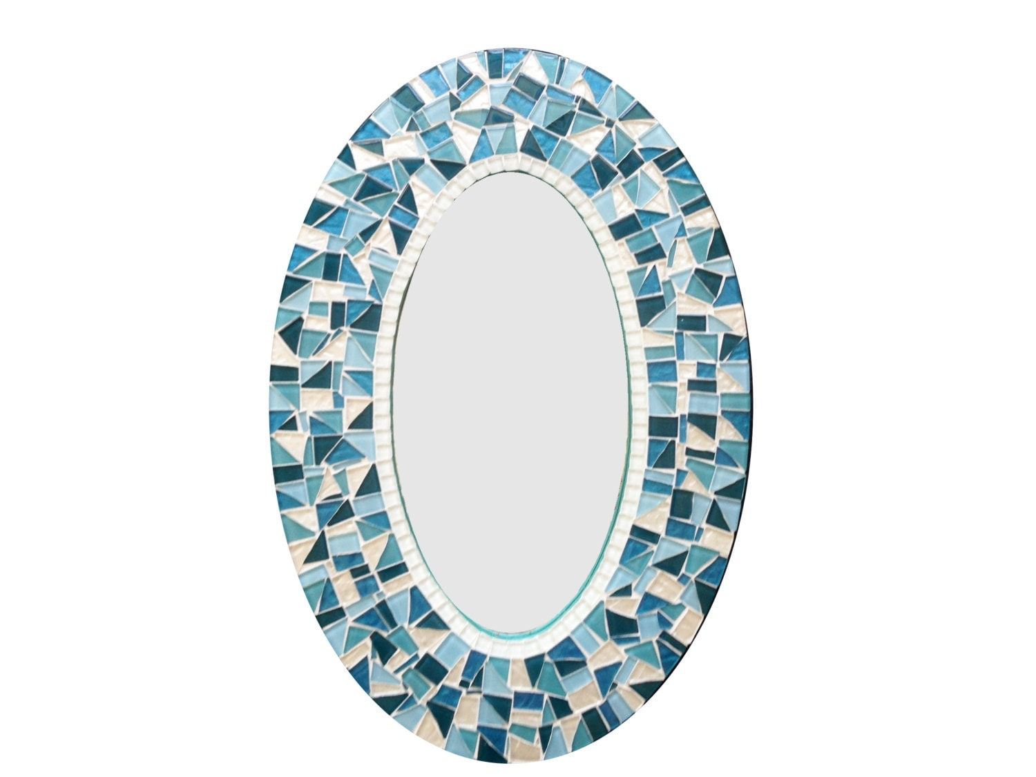 Oval Mosaic Wall Mirror In Teal Turquoise Aqua And White