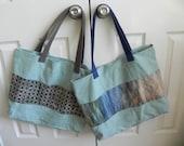 Embellished Dusty Blue Tote Bag