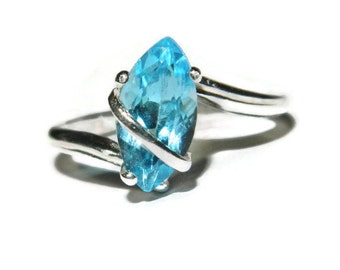 Blue Topaz Ring, Sky Blue Topaz Ring, Ring With Marquise Cut Stone, Sterling Silver Topaz Ring
