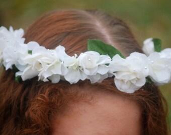 Flower crown, floral crown, cream roses, pearls