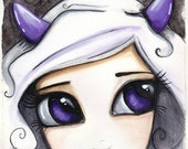 ZODIAC painting CAPRICORN girl with big purple eyes white hair and little horns a thoughtful and unique gift idea SHIPPING included