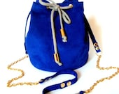 Blue leather bucket bag / Small leather purse / Handmade leather bag / Blue electric Italian suede leather