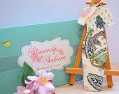 Cheongsam Fabric Bookmark: Cream with Pastel Fauna Patterns