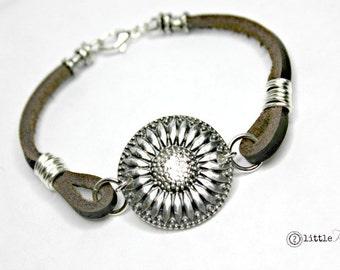 Sunflower Jewelry Leather Bracelet Cowgirl Sunflower Leather Bracelet Happy Jewelry Gift for Her