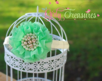Mint Flower Headband. Baby Mint Headband. Toddler Headband. Girl Headband. Newborn Headband. Photo Prop.