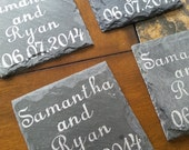 Happy Couple Wedding Date Slate Coasters - (Set of 4)  Anniversary, Engagenent, Valentine's Day