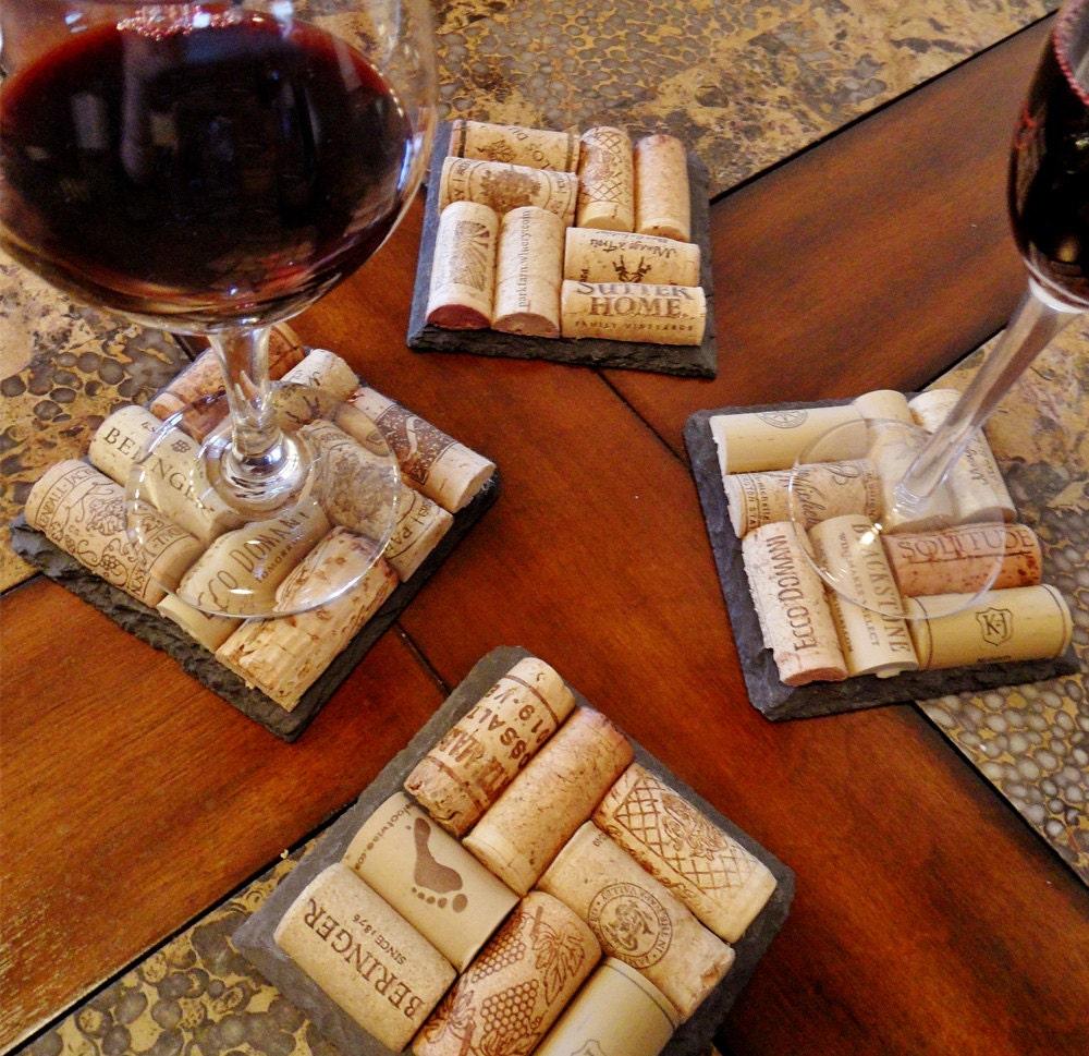 Wedding Cork Coaster: 4 Slate Wine Cork Coasters Perfect For Bridesmaid & Wedding