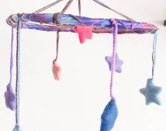 Woodburned Mobile - Sweet Dreams - Universe Mobile with Whool Stars - Boho Home Decor, Nursery Mobile