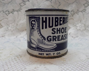 Collectible Tin Huberd's Shoe Grease Blue and White Vintage Tin McMinnville Oregon Man Cave Decor Original Tin