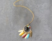 Red Toucan necklace / Long necklace / Golden feathers / Enameled feathers / Toucan necklace for women