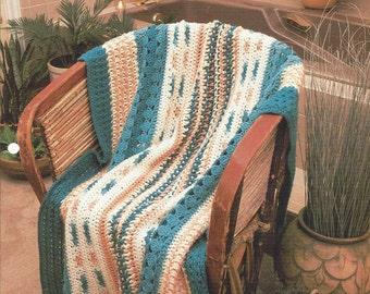 Southwest Sampler - Annie's Crochet Quilt & Afghan - Crochet Pattern Stripe Southwest Quilt Blanket Afghan, Bedspread, Home Decor, Bedding