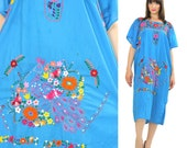 70s Mexican Oaxacan dress peacock embroidered floral dress Hippie  boho Festival short sleeve blue oversized tent shift  XL Extra Large